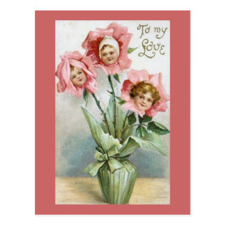 To My Love Flower Kids Postcard