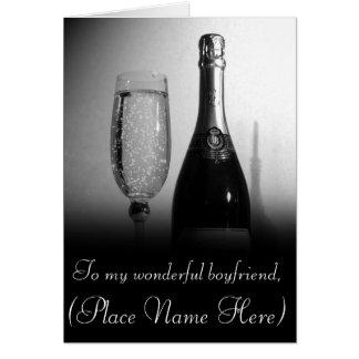 """To My Loving Boyfriend"" Champagne Valentine's Car Greeting Card"