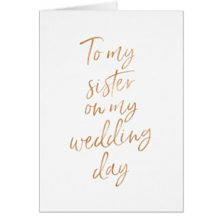 To my sister on my wedding | Stylish Copper Card