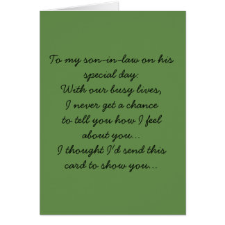 To my son-in-law card