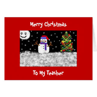 To My Teacher, Merry Christmas Greeting Card
