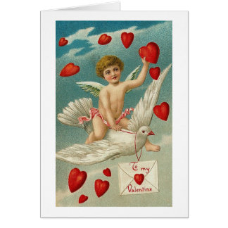 To My Valentine Cherub and Bird with Hearts Greeting Card
