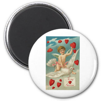 To My Valentine Cherub and Bird with Hearts Magnets
