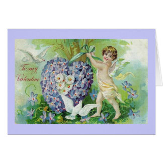 To My Valentine Cherub and Forget Me Nots Greeting Card