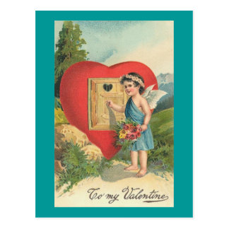 To My Valentine Cherub Knocking on Heart Window Postcard