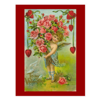 To My Valentine Cherub with Hearts and Flowers Postcard