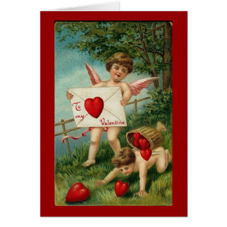 To My Valentine Cherub with Love Letter Greeting Card