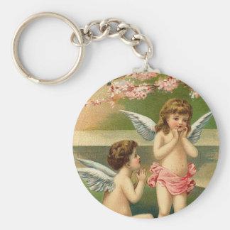 To My Valentine Cherubs Hearts and Cherry Blossom Basic Round Button Key Ring