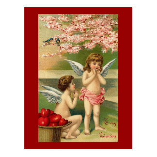To My Valentine Cherubs Hearts and Cherry Blossom Postcard
