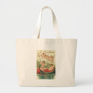 To My Valentine Cherubs in Rowboat with Hearts Canvas Bags