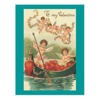 To My Valentine Cherubs in Rowboat with Hearts Postcard