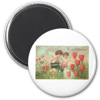To My Valentine Cherubs with Hearts Fridge Magnets