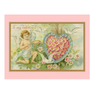 To My Valentine Cupid and Floral Heart Postcard