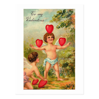 To My Valentine Cupid Juggling Hearts Postcard