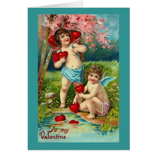 To My Valentine Cupids at the River Greeting Card