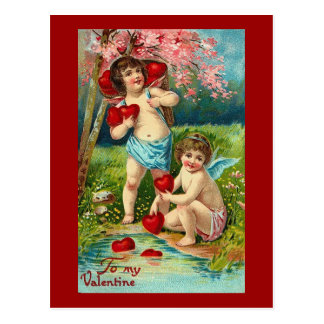 To My Valentine Cupids at the River Postcard