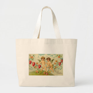 To My Valentine Cupids on a Rope of Hearts Tote Bags