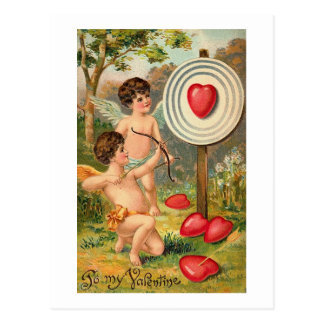 To My Valentine Cupids with Bow and Arrow Postcard