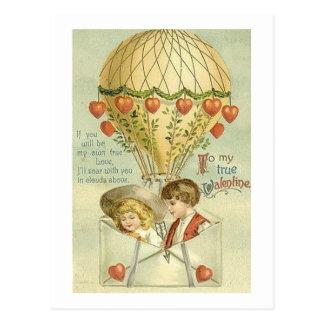 To My Valentine Hot Air Balloon Postcard