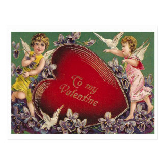 To My Valentine  Old-Fashioned Valentine Postcard