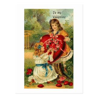 To My Valentine Two Little Girls Postcard
