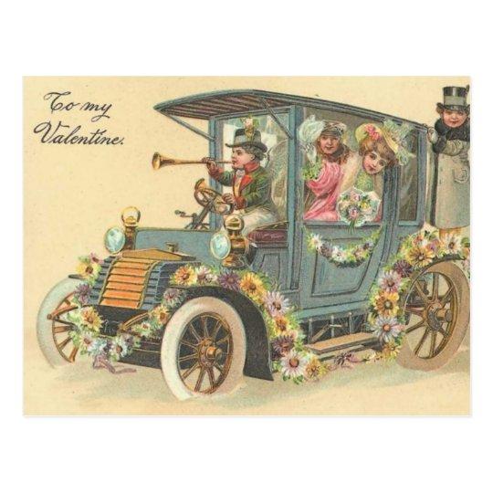 To My Valentine Vintage Car Postcard
