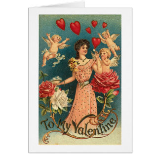 To My Valentine Woman with Cupids and Roses Cards