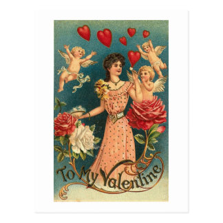 To My Valentine Woman with Cupids and Roses Postcard