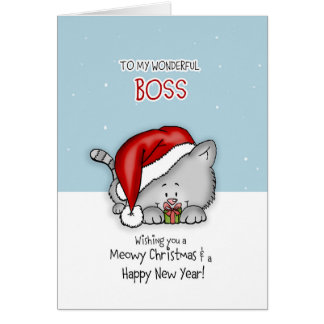 To my wonderful Boss - Cat Christmas card