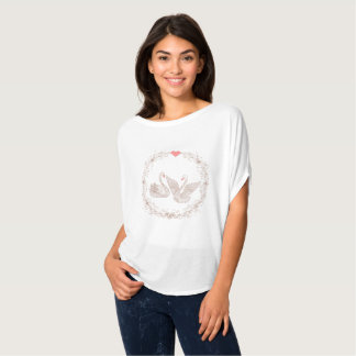 to pair swans with floral frame and pink heart T-Shirt