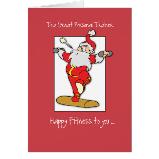To Personal Trainer Fitness Exercise Christmas wit Greeting Card