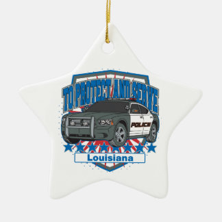 To Protect and Serve Police Car State of Louisiana Ceramic Star Decoration