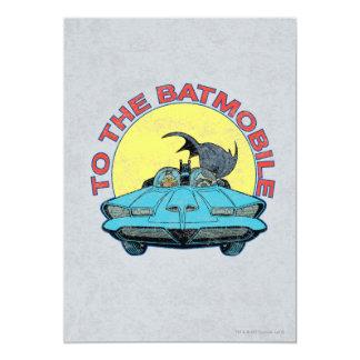 To The Batmobile - Distressed Icon 13 Cm X 18 Cm Invitation Card