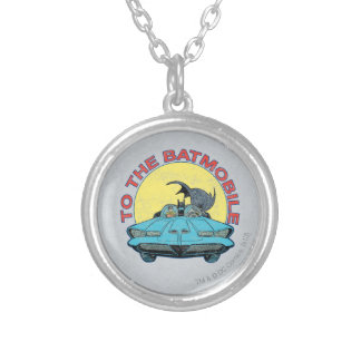 To The Batmobile - Distressed Icon Silver Plated Necklace