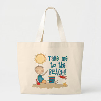 To the Beach (Boy) Large Tote Bag