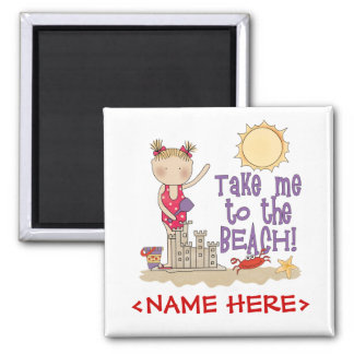 To the Beach (Girl) Square Magnet
