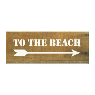 To The Beach Vintage Inspired Old Wood Board Sign Canvas Print