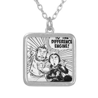 To The Difference Engine Panel Silver Plated Necklace