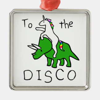To The Disco (Unicorn Riding Triceratops) Christmas Ornament