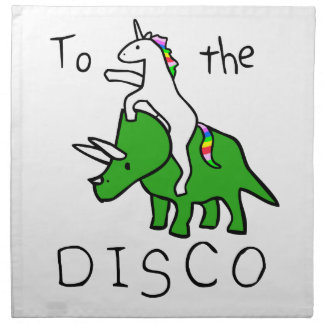 To The Disco (Unicorn Riding Triceratops) Napkin