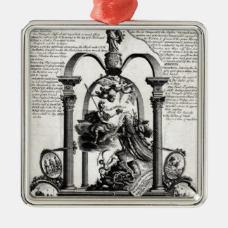 To the Glory of the Right Silver-Colored Square Decoration
