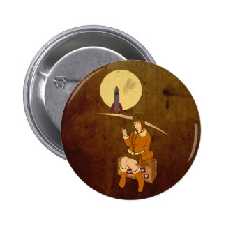 To the moon 6 cm round badge