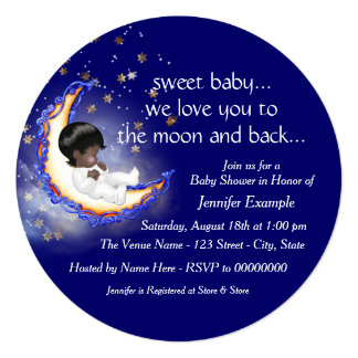 To The Moon and Back African American Baby Shower Personalized Invitations
