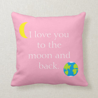 To the Moon and Back Pink Cushion