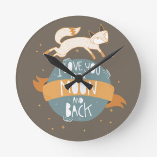 """To the moon and back"" Round Clock"
