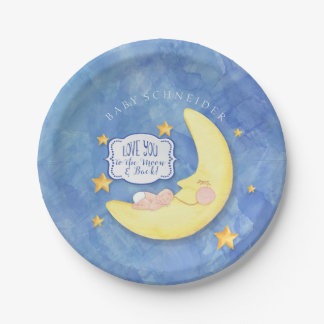 To The Moon and Back Stars Typography Baby Shower Paper Plate