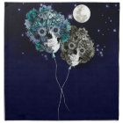 To the moon, night sky skull balloons napkin