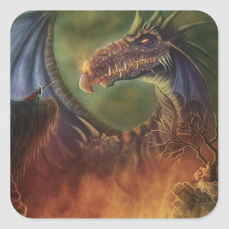 to the rescue! fantasy dragon square sticker