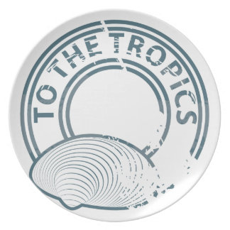 To the Tropics rubber stamp Dinner Plate