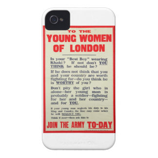 To the Young Women of London, recruitment poster, iPhone 4 Cover